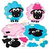 Kits de couture coussins mouton tout doux en feutre que les enfants pourront fabriquer, décorer et personnaliser - Loisirs créatifs ...