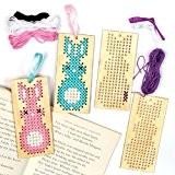 Kits de marque-pages lapin de Pâques en bois avec point de croix que les enfants pourront fabriquer - Kit de ...