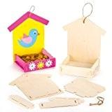 Kits Mangeoires à oiseaux en bois que les enfants pourront peindre, décorer et suspendre (Lot de 3)