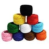 KurtzyTM 10 Bobines de Fil de Coton Coloré pour Crochet- 10g par bobine- Tricot Dentelle- 850 Mètres