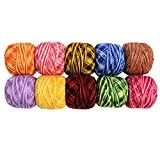 KurtzyTM 10 Bobines de Fil de Coton Rayé pour Crochet- 20g par bobine- Tricot Dentelle- 1700 Mètres