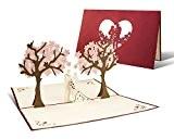 L10 Carte de voeux pour mariages, 3D pop up, haute qualité fait à main, motif jeunes mariés arbres couleur rouge