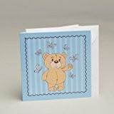 Lot de 10 faires-parts ourson bleu mariage baptême communion avec enveloppes
