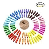 Lot de 100pinces à linge en bois naturel colorée avec printemps papier photo à pinces à linge en bois Mini ...