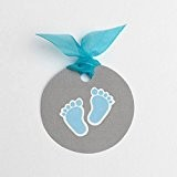 Lot de 12 étiquettes pour boites à dragées ballotins à dragées forme ronde petits pied bleu mariage baptême communion