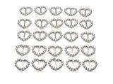 Lot de 200boucles de ruban en forme de cœur Invitation de mariage Argenté 16 x 15mm