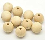 Lot de 50-bois-boules en bois naturel 20 mm