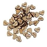 Lot de 50pcs LOVE Coeur en Bois Embellissement Artisanat Décoration de Mariage
