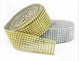 MARGUERAS 1 rouleau RUBAN DIAMANTS OR 9M X 4CM-Ruban strass diamant pour décoration gâteau à 8 lignes de diamants OU ...