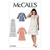 McCall's Patterns, 7408ZZ Patrons de tunique et robes pour femme Patron de Couture, soie, multicolore, tailles grand-2x L