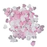 Mini Coeurs de Papier Confettis Décoration pour Mariage Fête 15g/Paquet - Blanc et Rose Pâle