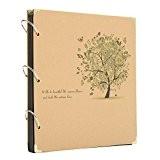MOHOO Album Photo Papier Kraft 12 Pouces -Couverture d'Arbre et Papillon- Bricolage à Don 30 Pages Estampillage