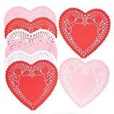 Napperons en forme de cœur rouge, rose et blanc que les enfants ou adultes pourront réaliser - Décoration de table ...