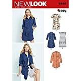 NEW LOOK 6449un Patron de Couture Facile pour femme robe et robe en tricot, blanc