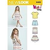 NEW LOOK Patron de Couture 6465un facile de haut, jupe et short pour enfant, blanc