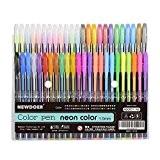 newdoer Lot de 48stylos Encre gel Couleur, waterchalk, le meilleur de stylo gel pour adulte Coloriage livres, cordon, et d'écriture, ...