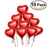 NUOLUX 10 ballons d'hélium coeur rouge clinquant avec des cordes pour la Saint Valentin mariage fiançailles décoration