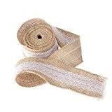 NUOLUX Toile de jute naturelle de 5 M * 5 CM ruban rouleau avec de la dentelle pour bricolage Artisanat ...