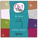 Oh ! Glitter PWM11 Bloc de 18 Feuilles Papier Pailleté Multicolore 20 x 20 x 0,5 cm