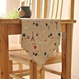OLQMY-Décoration de table,Décoration style pastoral coton et linge de table drapeau, simple moderne double chevet, Baiyun tour chinois tableau drapeau,30 ...