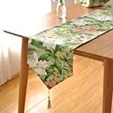 OLQMY-Décoration de table,Drapeau de table pastorale de la campagne américaine, coton et lin fleur drapeaux armoire, lit et linge décoratif ...