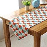 OLQMY-Décoration de table,Maison mode réseau triangulaire moderne simple table drapeau, drapeau double table basse double face, coton literie,30 * 140cm