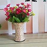 OLQMY-Rotin tissé à la main, pliage, vase, fleurs floral en fer forgé, décoration paniers, 15cm, couleurs aléatoires