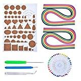 Outus Kit de Papier Quilling avec 5 Outils Quilling et 25 Couleurs 320 Bandes de Papier Quilling, Couleurs Assorties