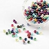 PandaHall - Lot de 400 Mixtes Perles Rondes Verre Nacre Couleurs Assorties 4mm Trou 0.5mm