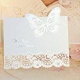 Papillon Strass 3D-Nacrée de bricolage découpe Laser Vintage pour mariage avec enveloppes Invitation & Lot de 10 Inserts