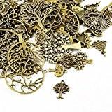 Paquet 30 Grams Bronze Antique Tibétain Mélange Aléatoire Breloques Arbres - (HA07080) - Charming Beads
