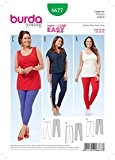 Patron de couture Burda Mesdames facile 6677Leggings pour femme 3Styles + sans Minerva Crafts Craft Guide