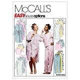 Patrons de robe, chemise de nuit ou haut et pantalon pour femme ou pour homme à enfiler, m2476, Taille Y ...