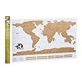 Relaxdays Carte du monde à gratter poster du monde affiche, blanc / doré