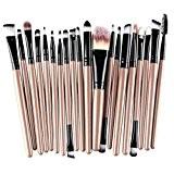 Rosennie Lot de 20 pinceaux de maquillage pour blush, fard à paupières, fond de teint Standard Earth colors