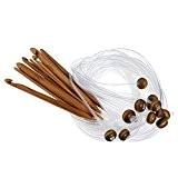 RowShan® 12pcs des crochets aiguilles bambou circulaires tricot tunisiens tapis au Crochet crochets (3. 0 mm à 10,0 mm)
