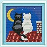 ruimi Poinçon Kit broderie pour point de croix Motif chat noir et blanc 11carats 23x 23x 23cm