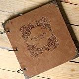 saibang Rétro en cuir DIY Album photo, Album 3anneaux pour livre d'or de mariage scrapbooking fait main-Forever mémoire