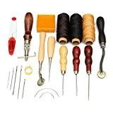 SanSiDo 14pcs Set de couture cuir Carft en cuir à la main de la main Outils de couture Alène filetage ...