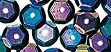 Sequins Noir irisé Ø 6 mm Bombés boîte 6 g Lavable - Rayher