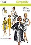 """Simplicity 1284Taille H5""""Femme Vintage Années 60robe manteau et gilet sans manches pour femme en deux longueurs Patron de Couture"""""""