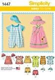 Simplicity 1447Patron de couture pour barboteuse, robe et haut pour bébé - Tailles? : XXS–L