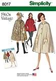 """Simplicity 8017h5""""Femme Vintage 1960'Cape en deux longueurs de couture motif, papier"""