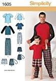 Simplicity pour homme/garçon 1605Patron de Couture Pyjama Nuit