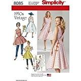 Simplicity robes de Vintage 1950de Femme en deux longueurs, Patron de Couture papier