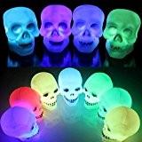 SOLMORE 8CM Crâne LED Changement de Couleur Humain Halloween Décoration d'Atmosphère pour Fête/Soirée/Bar/Restaurant/Discothèque Multicolore