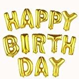Souarts Ballon Gonflable Lettres HAPPY BIRTHDAY pour Anniversaire Fete Enfant Couleur Dore 1Set