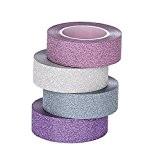 ST Glitter Washi Tape- Paillettes Washi Ruban Adhésif,15mm x 9.1m chaque, Lot de 4 Rouleau