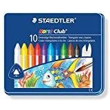 Staedtler - Noris Club 228 - Boîte Métal 10 Craies à la Cire Triangulaires Aquarellables Assorties