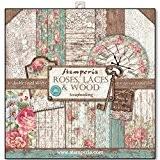 Stamperia - Papier scrapbooking assortiment roses dentelle et bois 10f recto verso - 170 gr/m2